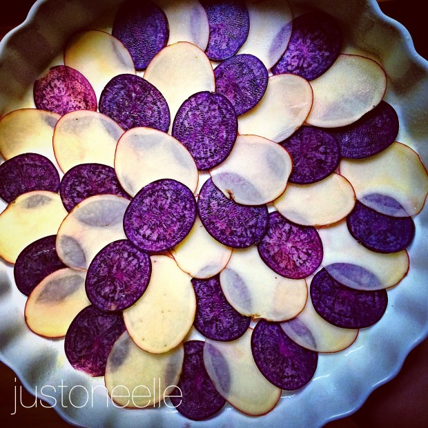 sliced potatoes, quiche